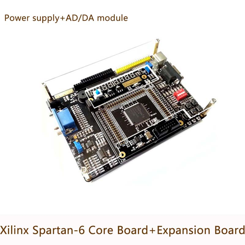 Xilinx FPGA Spartan-6 XC6SLX9 Conseil de Développement Bord de Base + Carte D'extension Périphérique/AD DA Module + alimentation