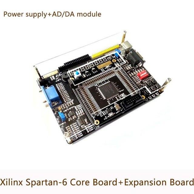 Xilinx FPGA Spartan 6 XC6SLX9 Development Board Core + Peripheral Expansion  Board/AD DA Module Power supply