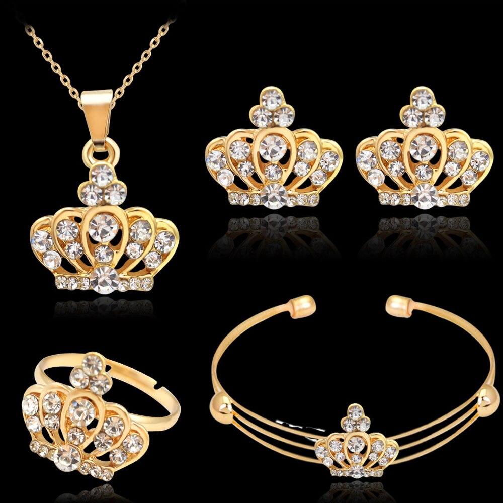 Dance Party Luxury Jewelry Set Crown Rhinestone Pendant Necklace Earrings  Ring Bracelet Fashion Jewelry For Women
