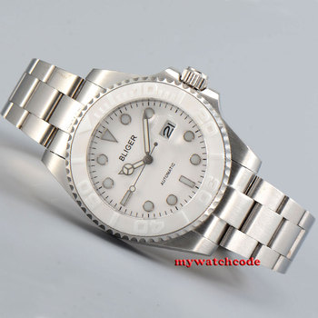 40mm bliger white dial sapphire glass automatic folding buckle mens watch P195