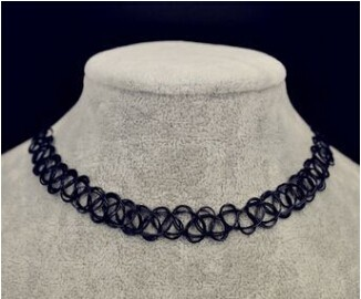 Fishing-Line-weave-tattoo-choker-necklace-gift-for-women-lovers-black-choker-necklace-vintage-Resin-Silver (2)