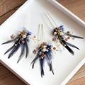 3 fotos Nueva Europeo azul Perla Horquilla de Novia de las novias de Noche de plumas accesorios para el cabello