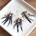 3 pics Novo Europeu azul pena noivas Pérola Hairpin Bridal acessórios De cabelo À Noite