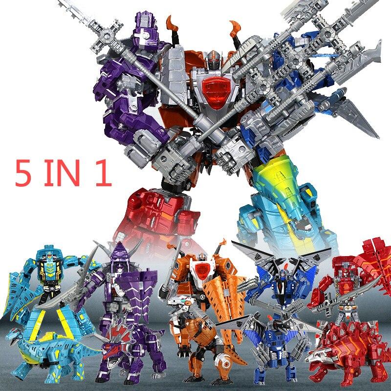 5 in 1 Large Dinosaurs Transform Warrior Robots Toy w// WeaponKids Children Gift