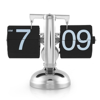 Retro Moderno Digital Auto Flip Relógio de Secretária Para Baixo Único Suporte de Mesa 12 Horas Simples