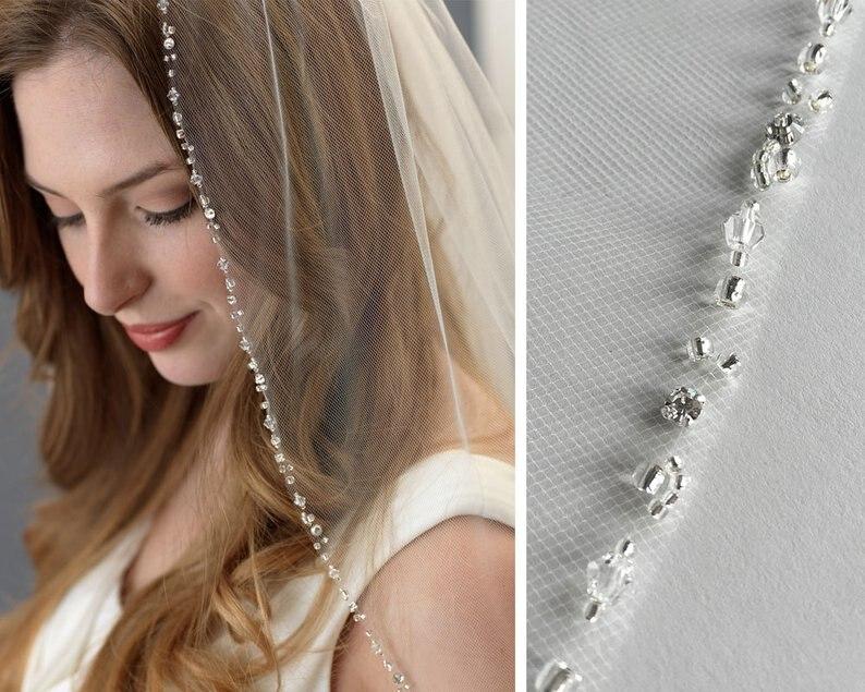 Beaded Wedding Veil, Rhinestone Bridal Veil, Ivory Veil, Elbow Length Veil, Bridal Headpiece