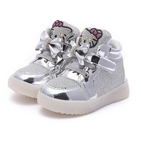 2016 New Baby Girls Summer Style Hello Kitty Bows Casual Shoes LED Solid Children Footwear Kids