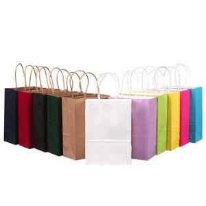 Image 5 - 50PCS 21x15x8cm DIY Multifunktions weiche farbe papier tasche mit griffen Festival geschenk tasche einkaufen taschen kraft papier verpackung tasche
