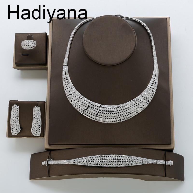 Jewelry Sets HADIYANA New Fahion Elegant Romantic Cubic Zirconia Luxury Simple Atmosphere High Quality TZ8127 Conjunto