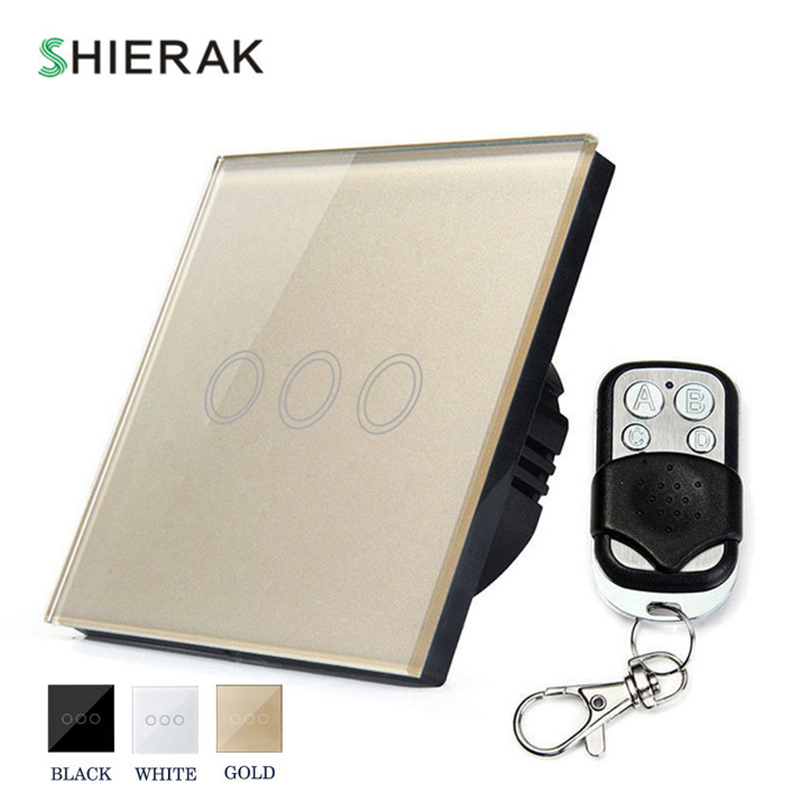 SHIERAK Remote Control Wall Light Touch Switch EU Standard 3 Gang White/Black/Gold Crystal Glass Panel Touch Control Switch home automation wall light switch eu standard 220v 3gang white crystal glass panel remote control touch light switch with led