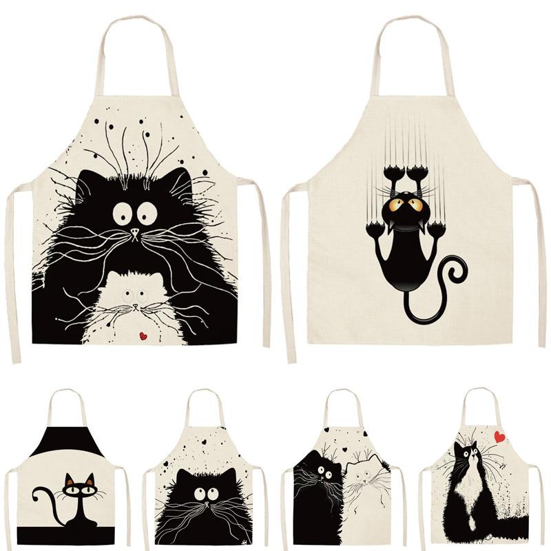 1Pcs Kitchen Cooking Apron Cute Cat Printed Home Sleeveless Cotton Linen Aprons For Men Women Baking Accessories 53*65cm WQ0029