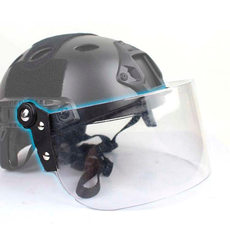 Outdoor Tactical Fast MICH AF Helmet Vintage Durable Windscreen  Anti Riot Lens Guide Rail Connected Mask CS Face Protective  lensHelmets