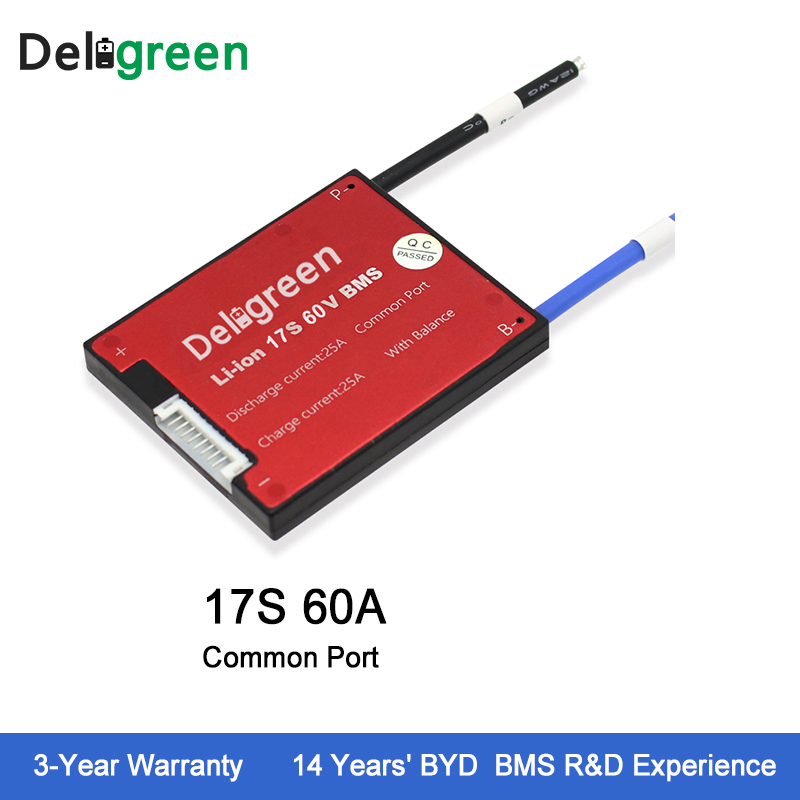 Deligreen 17S 60A 60V PCM PCB BMS for lithium battery pack 18650 Li Po LiNCM Battery