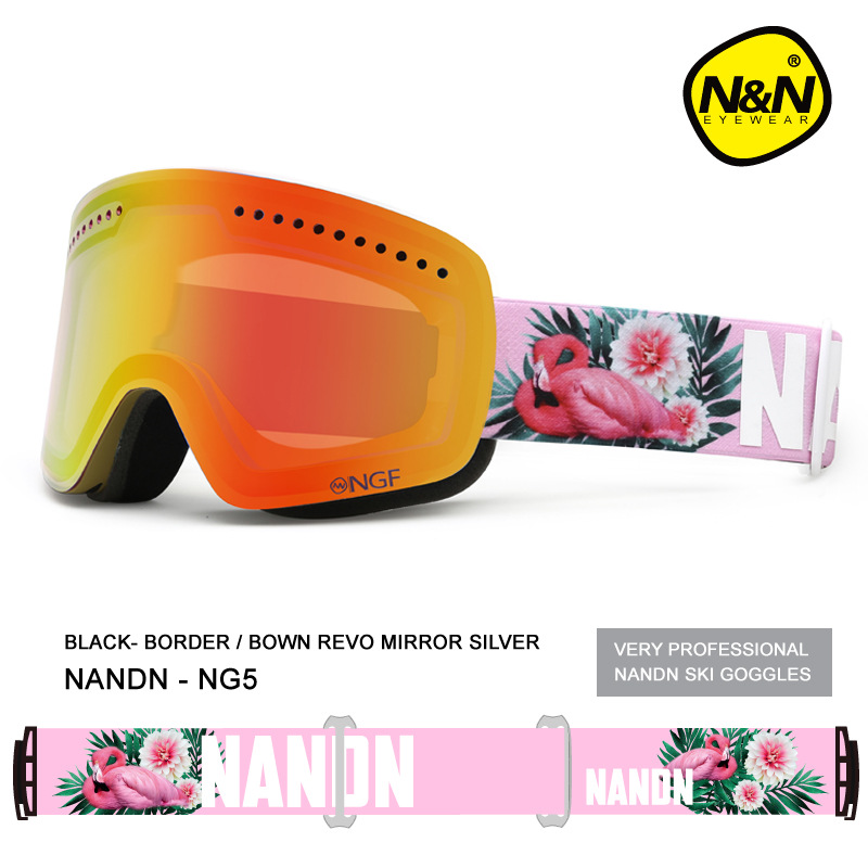 цена на NANDN Ski goggles men and women Double layer Anti-fog Large spherical field lens Windproof Ski glasses Skiing Eyewear NG5