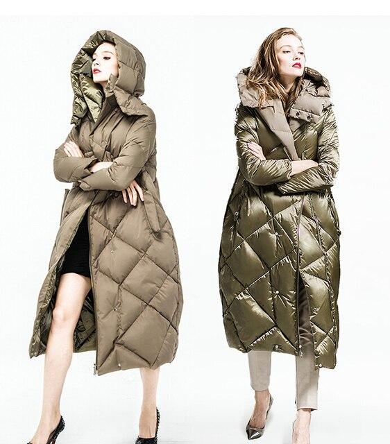 90% de pluma de Ganso Chaqueta de Invierno 2016 Mujeres abajo Parkas espesar abajo de la capa con capucha casual reversible abajo cubre diseño largo femenino 3XL