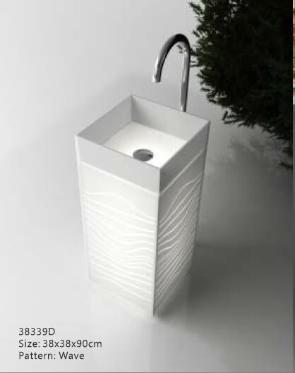 acrylic bathroom freestanding pedestal floor mounted basin square vanity illumined hand vessel sink rs38339d