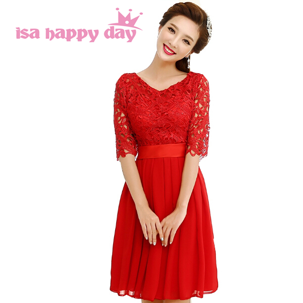 Modeste genou longueur élégante dentelle robe femmes cou robes de bal avec manches taille 8 filles femmes élégante robe rouge courte W1875