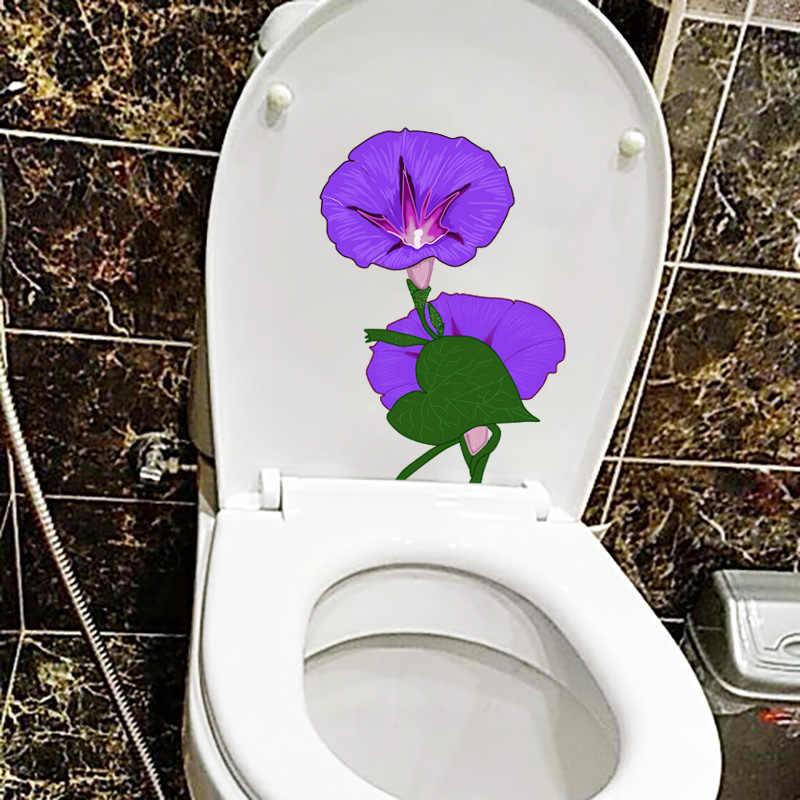 YOJA 16.4X22.9 ซม.ทรัมเป็ตสีม่วงดอกไม้สติ๊กเกอร์ติดผนังการ์ตูน WC ห้องน้ำตกแต่ง T1-1790