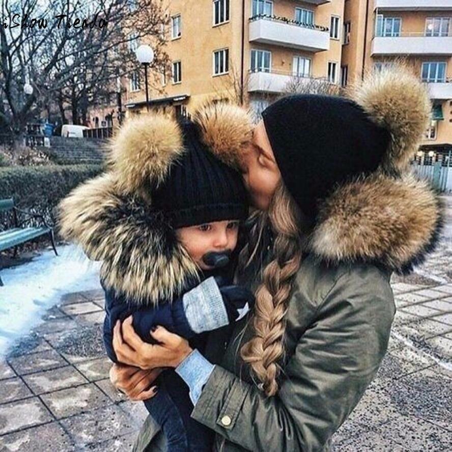 Parenting Winter Hat 2PCS Mom Baby Knitting Double Hairball Pom Bobble Hat Warm Beanie Touca Infantil