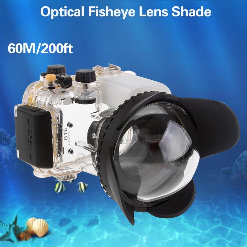 Mcoplus caméra étanche sous-marine 67mm objectif grand angle fisheye pour Canon Nikon Sony TG4 TG5 GX7II G11/G12 boîtier étanche
