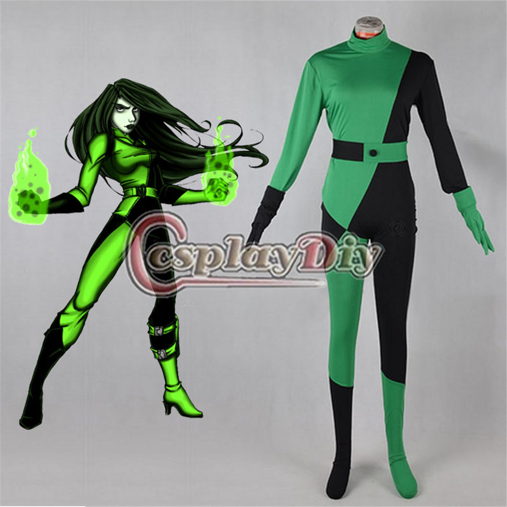 Kim Possible Shego Cosplay Costume Adult Women's Halloween Tights Anime Costume Free Shipping D0707