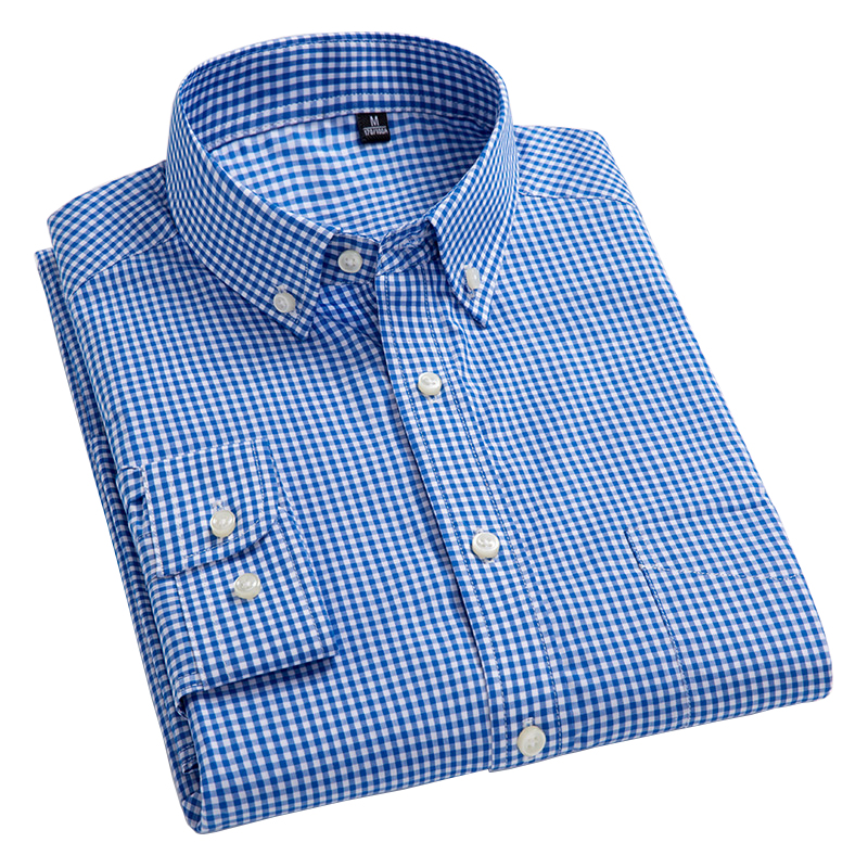 Mens Plaid Leisure Long Sleeve Slim Shirt Button Down Dress Shirts