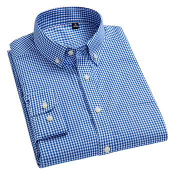 bf714918a 100% algodón Camisas manga larga botón Collar cuadros Oxford de corte Slim  de los hombres Camisas Casual de alta calidad vestido de camisa