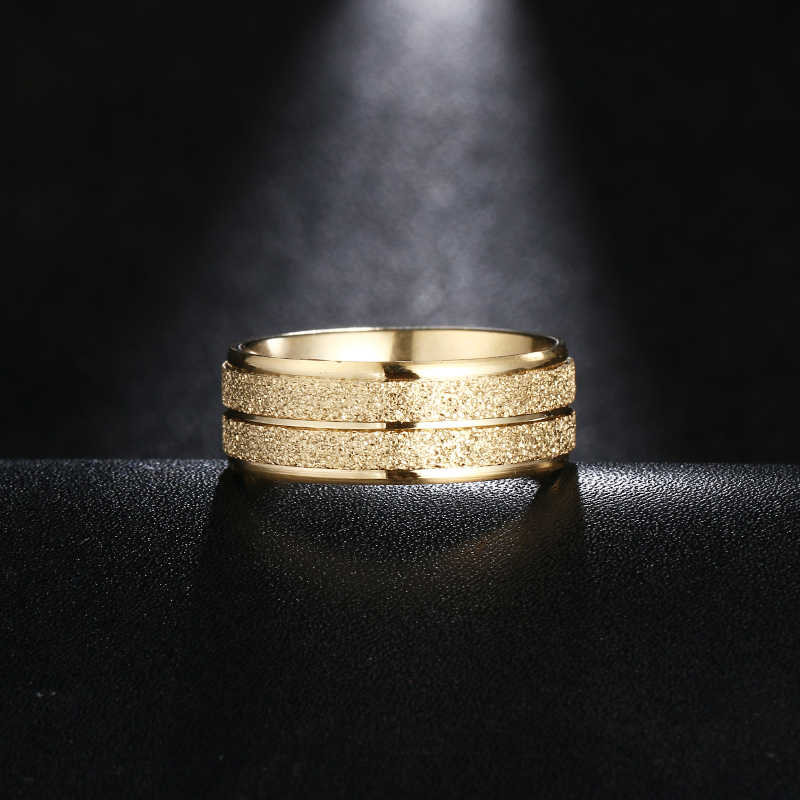 DOTIFI 316L anillos de acero inoxidable para mujer oro/plata Color Scrub compromiso anillo de boda joyería