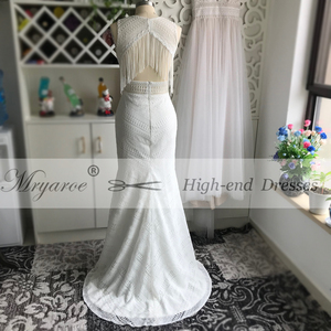 Image 5 - Mryarce New BOHO Chic Unique Lace Wedding Dress Bohemian Long Bridal Gowns Amazing Tassel Open Back vestido de noiva