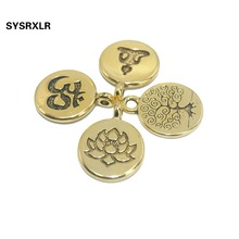 Free Shipping 20 PCS 15 MM Golden Lotus Life Tree OM Buddha Metal Zinc Alloy Charms DIY Bracelet Earring For Jewelry Making