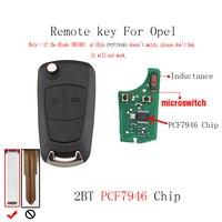 2pcs*2Buttons PCF7946 Transponder Chip Remote key For Vauxhall Opel Corsa D 2007 2008 2009 2010 2011 2012 HU100 Blade Car key