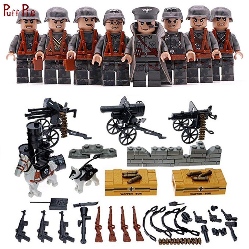 8pcs Military Army Weapon Soldier Action Figures Building Blocks Compatible Legoed WW2 World Wars Bricks Toys For Child Friends цена