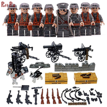 8pcs Military Army Weapon Soldier Action Figures Building Blocks Compatible Legoed  WW2 Star Wars Bricks Toys For Child Friends