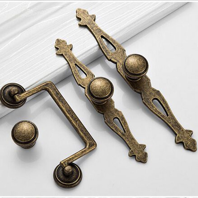 America Diseress Antique Brass Knobs With Backplate Dresser Kitchen Cabinet Door  Handle Knob Bronze Drop Rings