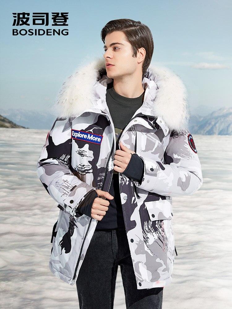 BOSIDENG 2018 NUOVO duro inverno goose down jacket per gli uomini addensare outwear reale della pelliccia con cappuccio impermeabile antivento B80142143
