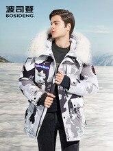 BOSIDENG NEUE rauen winter gans unten jacke für männer verdicken outwear echtpelz mit kapuze wasserdicht winddicht hohe qualität B80142143