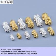 3d 100% серебряные бусины pixiu реальное чистое серебро на удачу