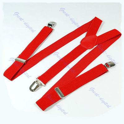 2Pcs/Lot Unisex Clip-on Braces Elastic Y-back Suspenders Red