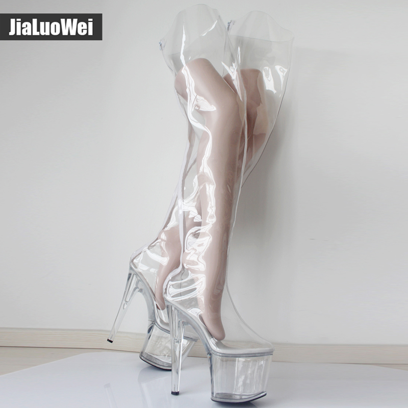 New Over The Knee Thigh Long Boots Transparent Clear PVC Boots Women Sexy Fetish 20cm High