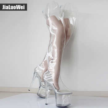 New! Over-The-Knee Thigh Long Boots Transparent Clear PVC Boots Women Sexy Fetish 20cm High Heel 9CM Platform Crotch High Boots - DISCOUNT ITEM  0% OFF All Category