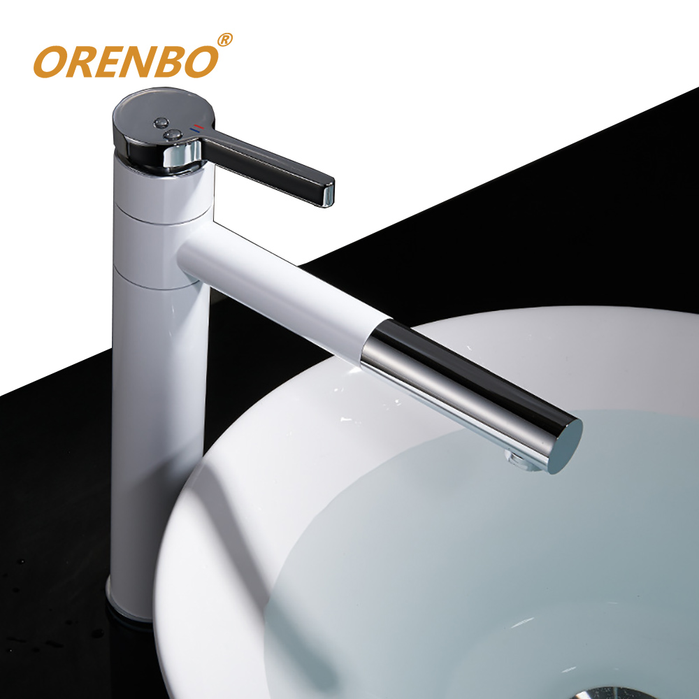 ORENBO Basin Mixer Tap 360 Degree Rotate Type Basin Faucet White and ...