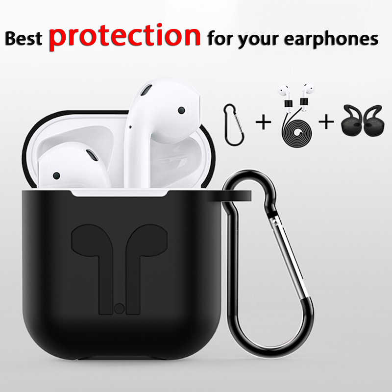 Bluetooth Earphones Cover For Airpods 2 Case Earphones Accessories Silicone Soft Case For Airpods Case Cute With In-ear Tips