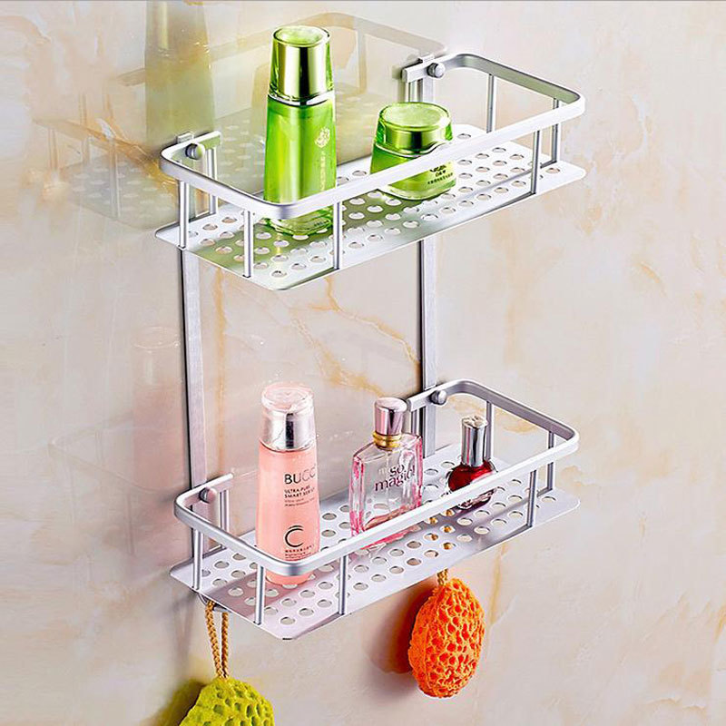 1 Pcs Two Layer Bathroom Shelves / Rack Space Aluminum Wall Towel Washing Shower Basket Bar Shelf / Bathroom Accessories 802116 thick aluminum 3 layer bathroom corner shelf wall washing shower basket shelves storage with hooks bathroom accessories 8115a16