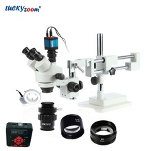Lucky Zoom 3.5X-90X Trinocular Stereo Microscope Boom Stand 16MP HDMI USB Microscope Camera 144 LED Ring Light Accessories Set free shipping 144 led four zone microscope ring light with adapter 90 240v microscope led light