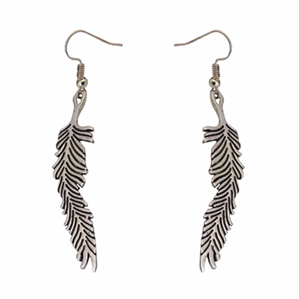 Idealway Bulu Panjang Vintage Segitiga Bentuk Drop Earrings Untuk Anting Gantung Gold Wanita Bohemia Etnis Tribal Emas Perak Hadiah Ulang Tahun Di