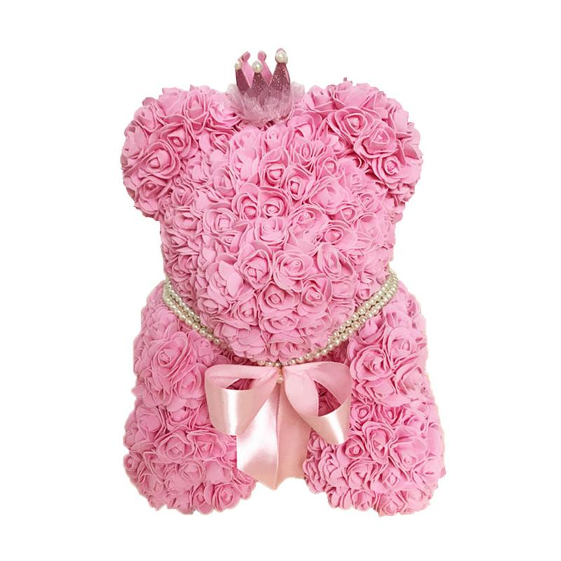 Home & Garden 25cm Bear Of Roses Flowers Teddy Bear With Crown Wedding Festival Diy Surprise Wedding Gift For Girl Lover Refreshment Artificial Decorations