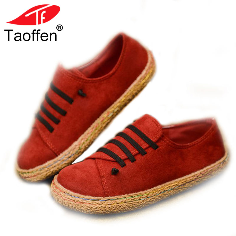 TAOFFEN Women Shallow Flats Shoes Flock Round Toe Women S Shoes Brief Korean Loafers Daily Outdoor Footwear Size 35-42
