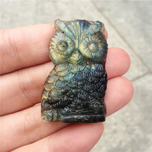 Beautiful crystal carvings natural hand-carved  labradorite stone owl necklace fashion jewelry gifts 1pcs