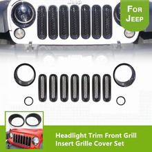 11pcs Black Headlight Fog Light Trim Ring Front Grill Insert Grille Cover Set for 2007-2017 Jeep Wrangler JK or Sahara