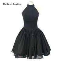 Скромное Черное бальное платье Холтер Коктейльные платья старинные 1950 х годов платье вечернее до колена Длина Выходные туфли на выпускной